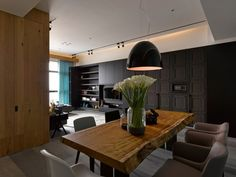 Modern three-room apartment in Taipei, Taiwan, is performed upon the project of Ganna Design studio in Small cozy apartment looks pretty comfortable Modern Dining Room, Apartment Room, Interior Design Living Room, Interior Design, Home, Room, Minimalism Interior, Small Apartments, Stylish Apartment