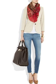 Clean & Crisp.  Shown here: Jimmy Choo scarf, The Row blazer, Adam tank, Giles & Brother bracelet, Michael Kors watch, Citizens of Humanity jeans, Christian Louboutin shoes.