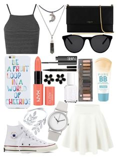 """""""Untitled #306"""" by jordanrintoule ❤ liked on Polyvore featuring Topshop, Converse, Lanvin, OTM, Normal Timepieces, Elizabeth Arden, Smoke & Mirrors, Maybelline, Urban Decay and NARS Cosmetics"""