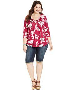 Lucky Brand Plus Size Printed Peasant Top & Denim Bermuda Shorts - Trendy Plus Sizes - Plus Sizes - Macy's