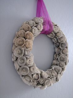 Wreath made of book pages.