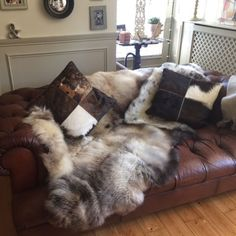 A rare breed quad (we stitched four sheepskins together) looking fabulous draped over this brown leather sofa - Sent in by Jane
