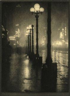Alvin Langdon Coburn - Broadway at Night - New York, 1913