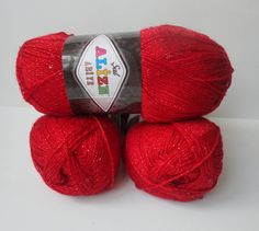 Red yarn,for your handmade shawl,scarf,sweather,...soft payette,metallic,acrylic,polyester,3 Skeins, Each skein: 100 gr on Etsy, $20.00