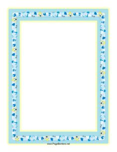 This Baby Boy Border In Tones Of Blue And Yellow Features Many Items From A  Babyu0027s