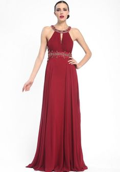 SUE WONG N5330 Halter Neck Cutout Back Embellished Port Gown Size 12 $510 NWT
