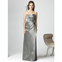 TYAD1111 Matte Satin Strapless Long Grey Bridesmaid Dresses  - $105.00