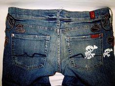 These were a promotional pair! #SevenForAllMankind #SkullPrint #Bootcut #Lowrise #WomensJeans #WomensFashion