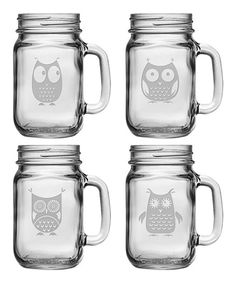 Owl Drinking Jar Set