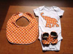 Baby Infant Onesie Bodysuit Bib and Booties Set   by avinini, $38.00