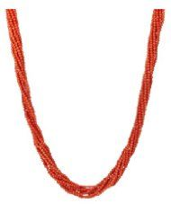"14k Yellow Gold 9-Strand Red Coral Bead Necklace, 17""  $696.00"