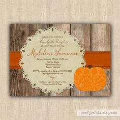 Little Pumpkin Baby Shower Invitations - Rustic Autumn Shower Invitations