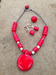 conjunto colar anel e brincos de murano