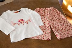 Wide Leg Baby Lounge Pants and matching appliqued bunting top.