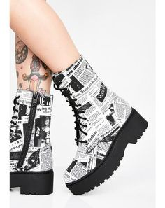 Free, fast shipping on Karma Patrol Combat Boots at Dolls Kill, an online boutique for punk rock fashion. Shop Current Mood grunge clothing, lace up leggings, & platform shoes here. Fashion Boots, Sneakers Fashion, Kawaii Shoes, Punk Boots, Sneakers Mode, Aesthetic Shoes, Hype Shoes, Shoes Uk, Fresh Shoes