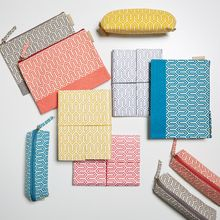 Choose your own mix of our prints and colours to brighten up your workspace or storage area. All our beautiful handmade stationery and storage products are produced in an eco-friendly way, from recycled materials. Pencil Case Pouch, Pencil Cases, Recycled Materials, Notebooks, Journals, Stationery, Storage Area, Locker, Eco Friendly