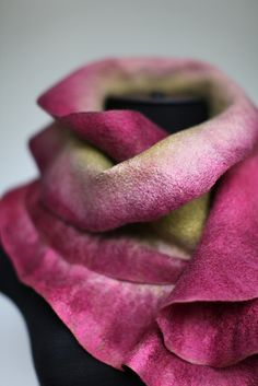 beauty in felt. Gorgeous ruffle scarf in olive, rose and white, with silk. Looks like a rose for the neck