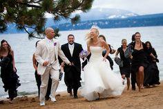 A fall wedding on the beach in Lake Tahoe.