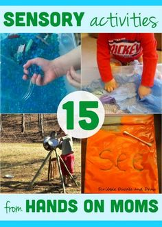 A quick list of 15 sensory activities for kids to do from other hands on moms! Check out all the sensory fun and browse the archives for even more! Sensory Bags, Sensory Activities, Craft Activities For Kids, Sensory Play, Learning Activities, Preschool Activities, Kids Learning, Sensory Rooms, Sensory Diet