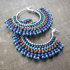 Beaded Hoop Earrings using Brickstitch Technique | Flickr - Photo Sharing!