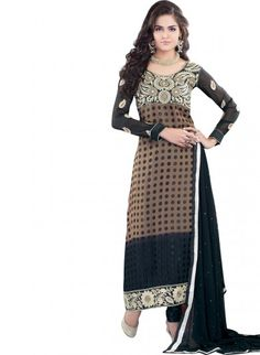 Brown and Black Brasso and Shantoon A-line Kameez Churidaar
