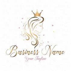 DIGITAL Custom logo design Hair Crown Beauty logo gold Girl Source by mmmirbatmm Custom Logo Design, Custom Logos, Business Logo, Business Card Design, Schönheitssalon Logo, Beauty Salon Logo, Crown Logo, Gold Girl, Queen Hair