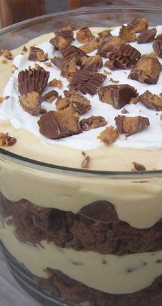 Recipe for Peanut Butter Brownie Trifle - This rich, tempting trifle feeds a crowd and features the ever-popular combination of chocolate and peanut butter.