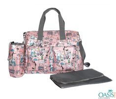 Wholesale Baby Pink Soft Floral Diaper Bags