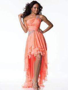 Orange, One-Shoulder, High-Low Dress