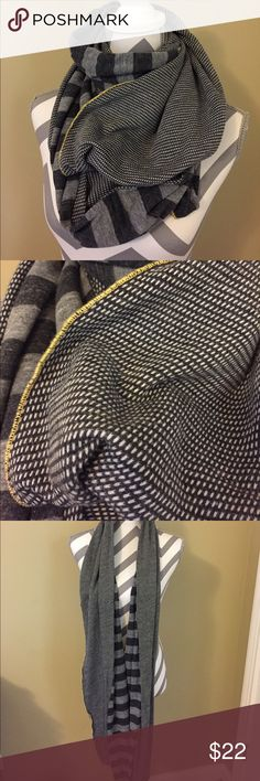 [Scrapbook Originals] contrast scarf Black and grey stripe. Black and white polka dot. Yellow stitching. Infinity. Can be worn multiple ways! Perfect condition. Scrapbook Originals Accessories Scarves & Wraps