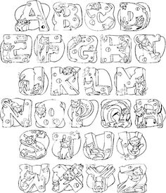 Cats Alphabet Letters to Print & Color  http://www.colorthealphabet.com/alphabets/alpha27/index.shtml