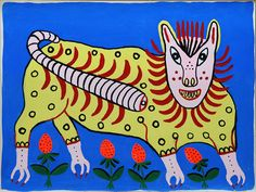 Lion is laughing, Maria Pryimachenko, 1986