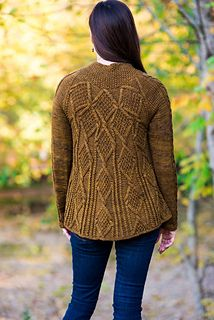 Cable madness! This beautifully cabled cardigan is a combination of rounded yoke on the back with an expanding cable design and raglan on the front and sleeves. Adalia, a distinctive name for a distinctive cardigan, means God is my refuge or noble one. You will definitely feel like one of the nobility when you wear this cardigan.