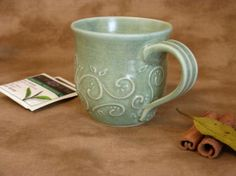 Vines and Leaves 10 ounce Pottery Mug  Ready by RedParrotPottery, $25.00