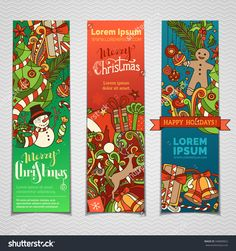 Vector set of colourful Christmas banners. Three vertical templates for your festive design. Christmas tree and baubles, snowman and gingerbread man, deer and gifts, bells.