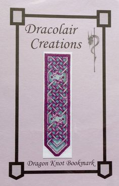 Sarah Wu Dracolair Creations DRAGON KNOT BOOKMARK - Counted Cross Stitch Pattern Chart