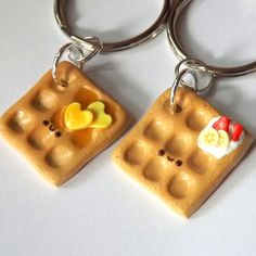 Two best friend waffle keychains set. Sculpted from polymer clay on large split keyrings. One strawberry banana waffle, one syrup and butter.