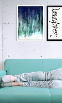 wall prints poster, interior design, blue green poster, beautiful sofa, typography poster