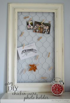 Easy DIY Chicken Wire Photo Holder From a Thrifted Frame - An Oregon Cottage (Diy Photo Board) Diy Photo, Cadre Photo Diy, Easy Diy Crafts, Diy Arts And Crafts, Fun Diy, Decor Crafts, Kids Crafts, Chicken Wire Crafts, Picture Frame Crafts