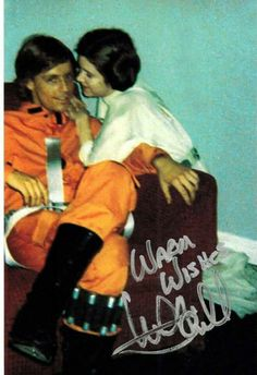 Mark Hamill and Carrie Fisher, Luke and Leia, Star Wars Episode IV: A New Hope. I know Carrie had a thing with Harrison, but it always looks like there was something between Carrie and Mark, instead.