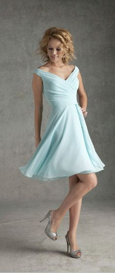 cute short bridesmaid dresses Off-the-shoulder Natural Waist Bridesmaid Dress SKU: U8WR0
