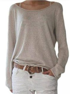 Cotton Blend Casual Long Sleeve Round Neck Women Blouse