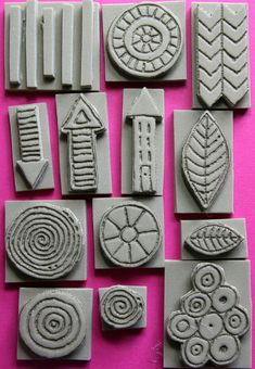 A set of 13 foam stamps hand-carved with a pyrography tool into extra thick craft foam (I trick I picked up from artist Mindy Lacefield!). This