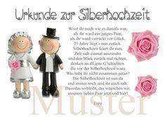 Weiteres - Urkunde zur Silberhochzeit 25. Hochzeitstag DIN A4 - ein Designerstück von Brittas-Kreativ-Traum bei DaWanda