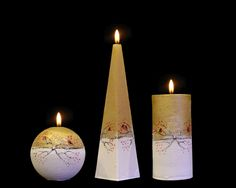 Handmade and Decorated Christmas Candle Togetherness Cylinder Pyramid Ball Beautiful Candles, Christmas Candle, Handmade Candles, Pillar Candles, Lights, Crafts, Ebay, Decor, Manualidades