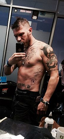 THAS-Tom Hardy Argentina Station • Tom getting a new tattoo (The Revenant logo) by...
