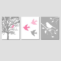 Modern Bird Trio - Set of Three 8 x 10 Prints - in Pink, White, and Gray - Perfect for Nursery