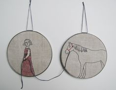 I enjoy the way that the second hoop is a continuation if the first hoop completing the concept of the piece. The use of embroidery hoops as frames is a clever take on transforming this textile piece. The simplicity within the intricacy also adds to the contemporary elements in the image.