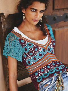 Hooked on crochet: Crochet tops / Blusas de crochê