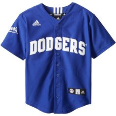 MLB Los Angeles Dodgers Boy's Screen Printed Team Color Baseball... ❤ liked on Polyvore featuring tops